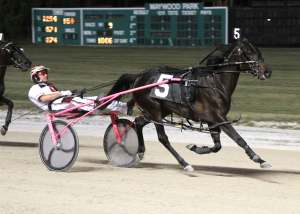 Sleazy Does It and Marcus Miller won the $112,000 Filly Maywood Pace on 6/15/12.